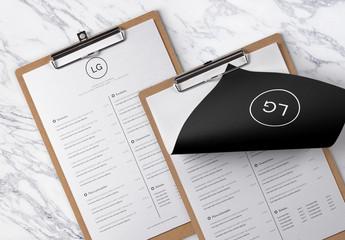 Diseño de menú minimalista