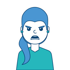 portrait woman angry facial expression cartoon vector illustration blue and green design