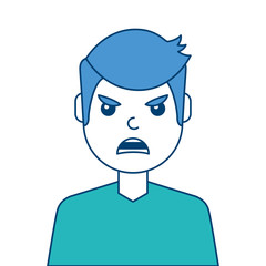 portrait man face angry expression cartoon vector illustration blue and green design