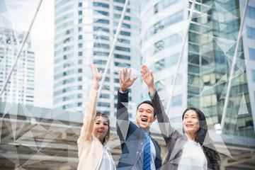 business team making high hands in modern city