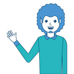 portrait man waving hand smiling character vector illustration blue and green design