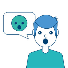 man with surprised emoticon in speech bubble vector illustration blue and green design