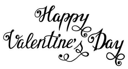 Happy Valentine's Day hand drawn brush lettering, isolated on wh