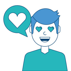 man with love heart in speech bubble vector illustration blue and green design