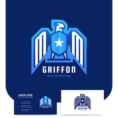 Sport style Gryffin or eagle medieval logo design with shield fot security company with business card