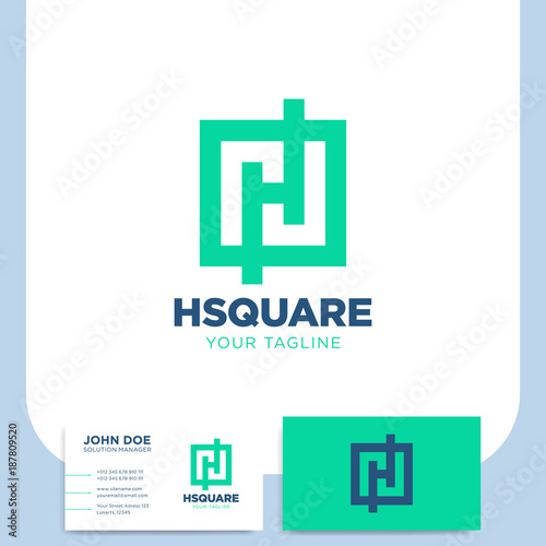 Simple h letter logo in square or frame template with business card simple h letter logo in square or frame template with business card colourmoves