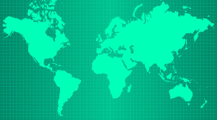 Earth map on trendy green gradient background with grid and all major earth continents - Eurasia, North and South America, Africa, Australia.