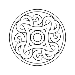 Ancient viking ornament in a graphic style. Vector coloring illu
