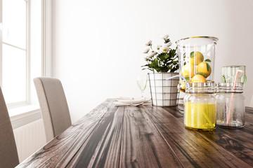 Lemons and Lemonade on the Dining Table