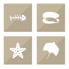 Set Of 4 Sea Icons Set.Collection Of Sea Star, Stingray, Remains And Other Elements.