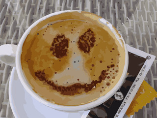 Cup of appetizing coffee with a happy face drawn on the cream and accompanied with sugar sachets.
