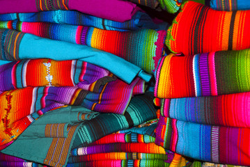 Handmade traditional guatemalan design, Colorful fabric worked by hand in Guatemala, Central America, Mayan details, typical costume.