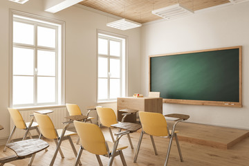 Empty Classroom with Yellow Student Chairs