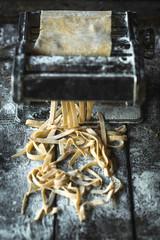 Homemade Italian traditional tagliatelle,selective focus