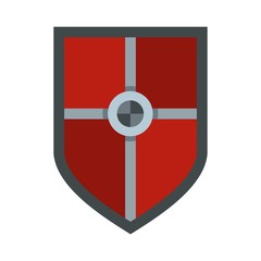 Shield for fight icon, flat style