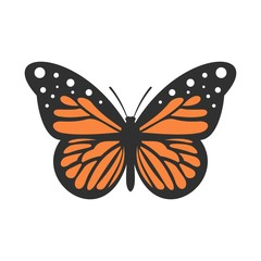 Big butterfly icon, flat style