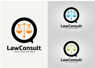 Law Consult Logo Template Design Vector, Emblem, Design Concept, Creative Symbol, Icon