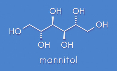 Mannitol (mannite, manna sugar) molecule. Used as sweetener, drug, etc. Skeletal formula.