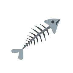 Fish bone icon, flat style