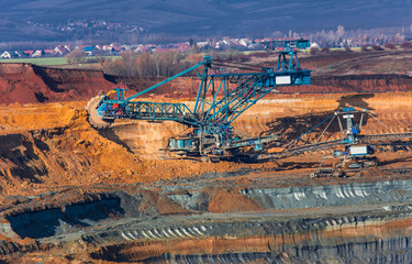 coal mine, opencast mining and blue mining machinery