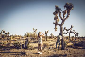 Hispanic couple in remote desert