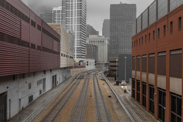 Alleyway for trains in urban area