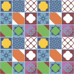 Colorfull seamless patchwork tile pattern. Vector image.