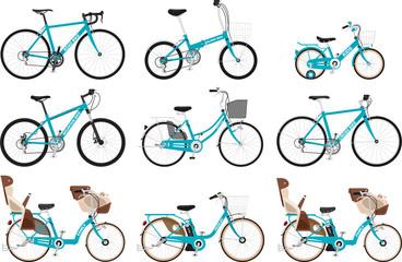 いろいろな種類の自転車のセット