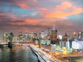 Night lights of Manhattan - Aerial view of New York City - USA