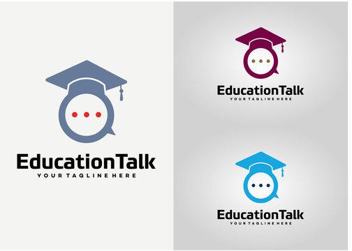 Education Talk Logo Template Design Vector, Emblem, Design Concept, Creative Symbol, Icon