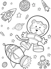 Poster Cartoon draw Outer Space Astronaut Rocket Vector Illustration Art