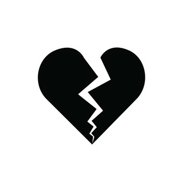 heart broken red vector icon