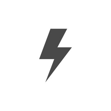 lightning bolt thunder vector icon for charging electricity industrial and battery eps10 gray