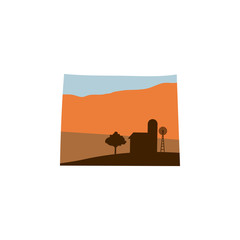 Wyoming State Shape with Farm at Sunset w Windmill, Barn, and a Tree