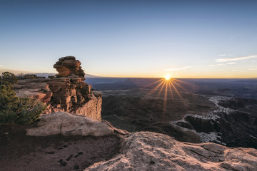 Sunset in canyon, Moab, Utah, United States