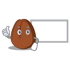 Thumbs up with board coffee bean character cartoon