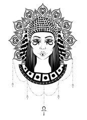 Hand-drawn illustration of the ancient Cleopatra's head at boho, gypsy, vintage style.