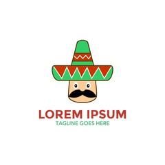 unique mexico logo. cartoon style.