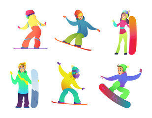 Snowboard characters collection. Vector cartoon illustration set