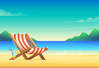 Cartoon style beach chair illustration. Sunbed on sandy bay