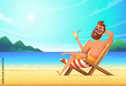 A man lies on a lounger on a sandy beach drinks a cocktail and a man lies on a lounger on a sandy beach drinks a cocktail and relaxes voltagebd Choice Image