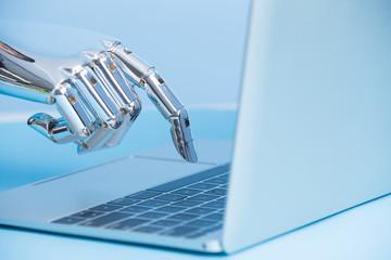 robot hand use notebook work