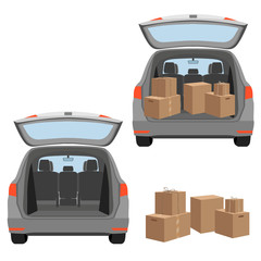 Estate car with opened trunk and cardboard boxes inside. House move or relocation. Vector illustration isolated on white background.