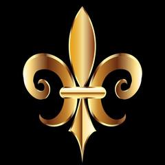 Fleur De Lis. New Orleans golden symbol flower logo icon vector image template