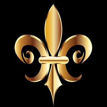 Fleur De Lis. New Orleans golden symbol flower logo