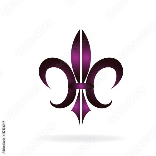 fleur de lis new orleans golden symbol flower logo icon vector