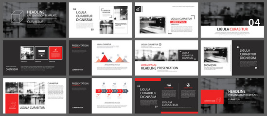Red and black element for slide infographic on background. Presentation template. Use for business annual report, flyer, corporate marketing, leaflet, advertising, brochure, modern style.