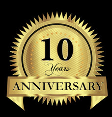 10 years anniversary gold seal logo vector design