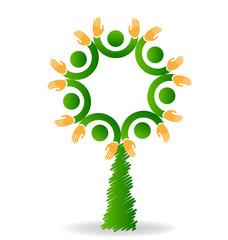 Logo tree eco friendly teamwork vector icon