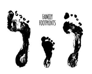 Familyfootprints vector illustration. Watercolor family footprints of mom, dad, and child. Social illustration.